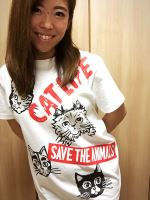 受注商品 SAVE THE ANIMALS CAT LIFE Tシャツ 白